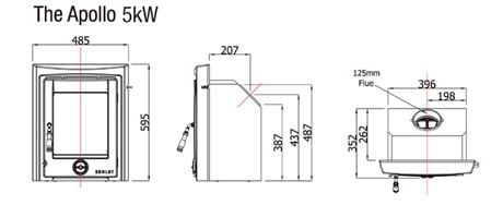 Henley Apollon 5kw insert dimensions image