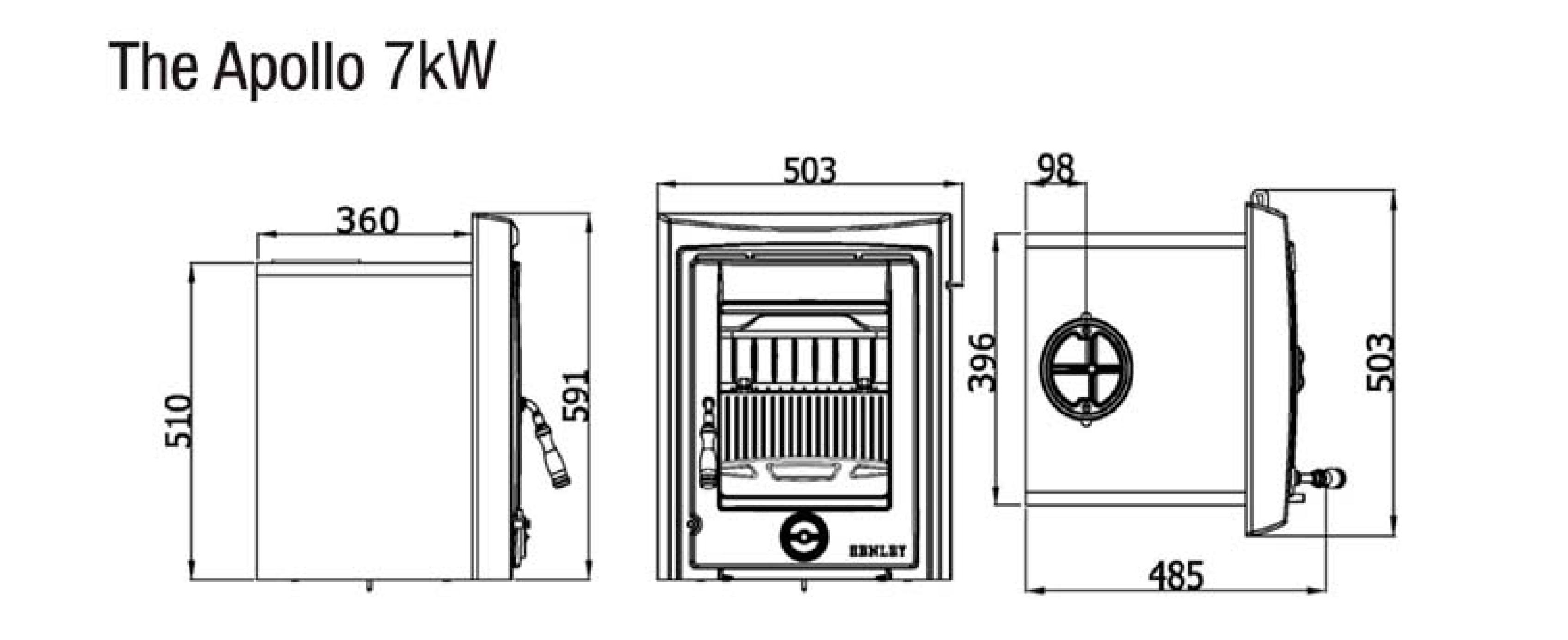 Henley Apollo 7 kw insert stove dimensions image
