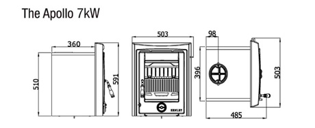 Henley Apollo 7 kw insert stove dimensions image