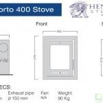 Henley Porto 400 Cassette stove Dimensions Image
