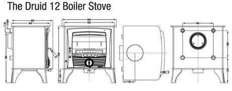 Henley Druid 12 kw Boiler Dimensions Image