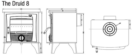 Henley Druid 8 kw Dimensions Image