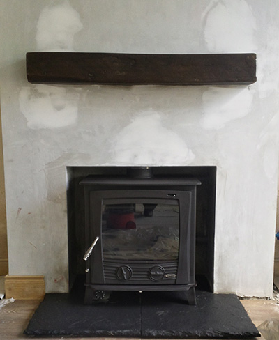 25 kw druid boiler with timber mantel Image