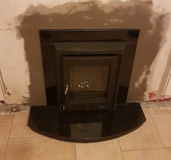 Black Granite Surround and Stove Hearth Image
